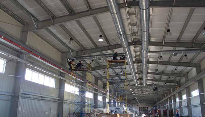 Монтаж систем вентиляции промышленных цехов