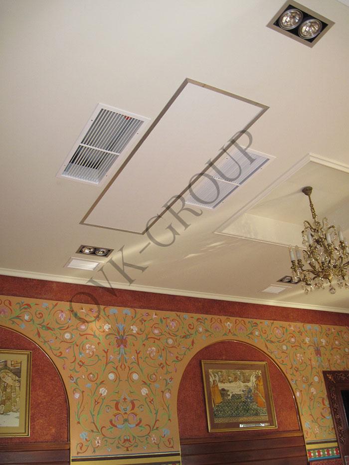 Установка канальных фанкойлов в зале ресторана