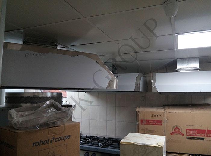 Проектирование и монтаж воздуховодов системы вентиляции в кухне кафе в Харькове