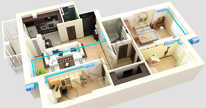 кондиционированиt в квартире на несколько комнат
