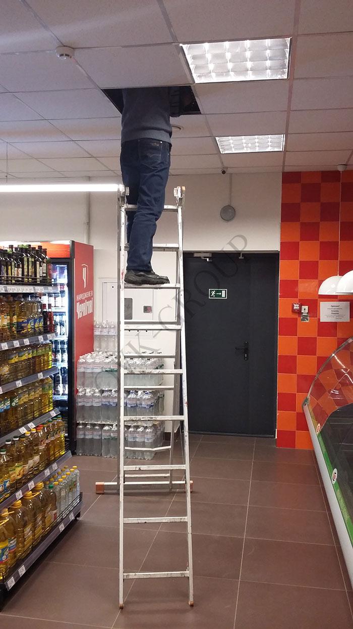 монтаж вентиляции и кондиционирования в продовольственном минимаркете